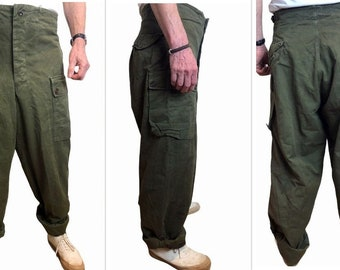 VTG 50s RARE A.M. Seynaeve M.V.O 1958 Military Belgian Army Olive Green Twill Baggy Wide Cargo Utility Trousers, size 82X90