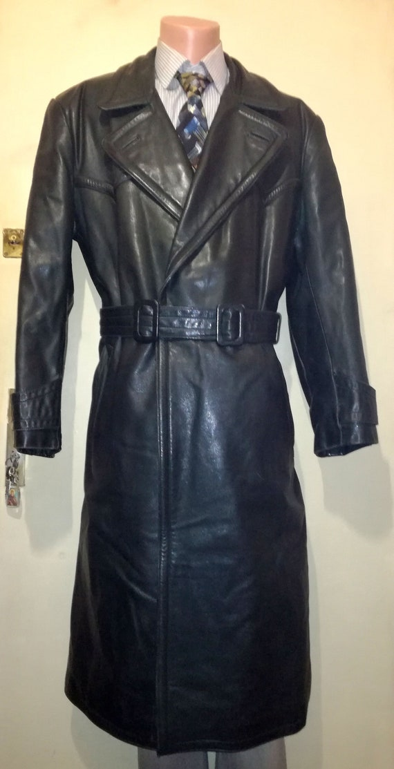 be9f3b71a RAKA West Germany Military Officer Grüner Ledermantel Green Leather Trench  Coat, WW2 Style, size D 50 / L