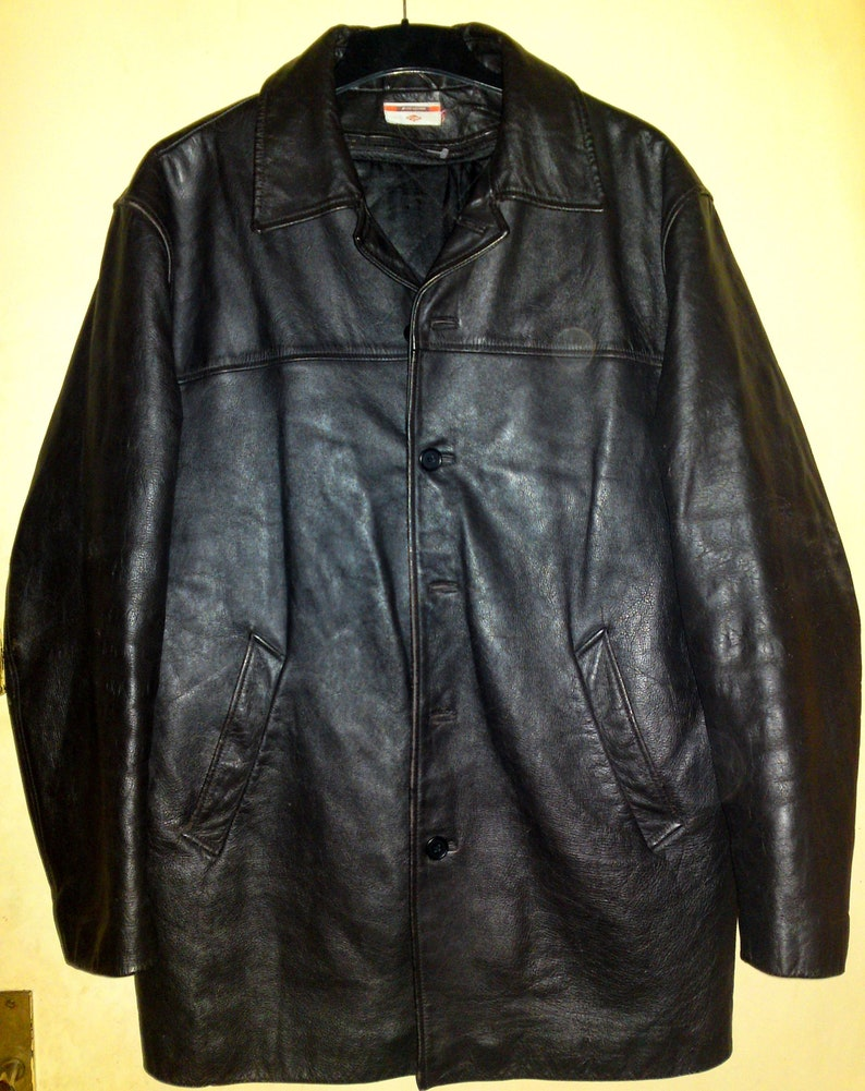 73f36c533 Lee Cooper - Quilted Winter Black Leather jacket / coat, size L