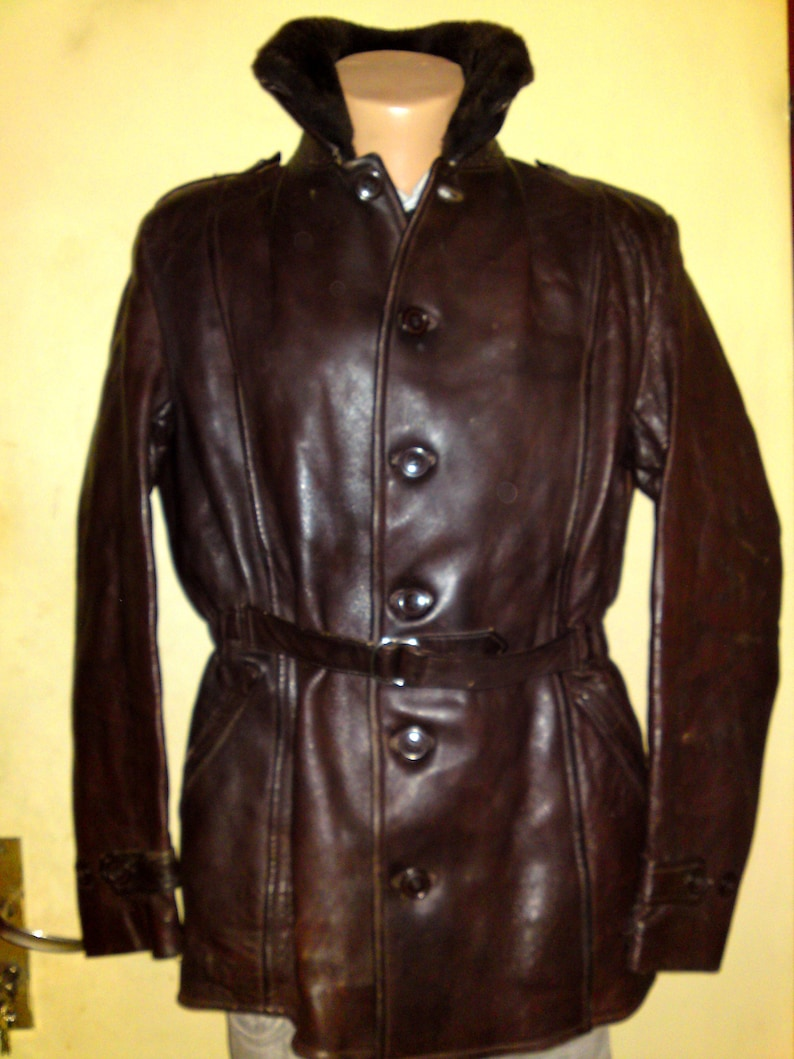 b3db204b1 Very Old 40's Vintage WW2 French Army Military Police Halfbelted Horsehide  Brown Leather Trench Coat Jacket, size S