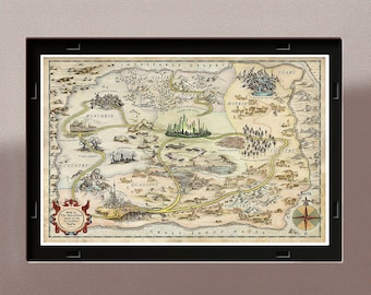 Land of Oz Map from The Wizard of Oz, storybook art, The Marvelous Land of Oz wall decor, Gift Idea, Book Lovers, Wall Decor Art, dorothy
