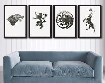 Game Of Thrones Canvas Wall Art Set 4 Coats Arms GoT Decor Winter Is Coming Houses Baratheon Stark Lannister Targaryen Print