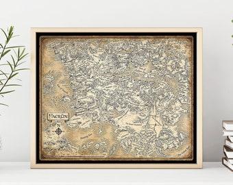 Faerûn map, Dungeons Dragons art, D&D, DnD, Forgotten Realms print, Robert Anthony Salvatore, Swords Coast map, Icewind Dale, Hordelands