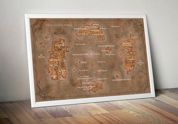 WOW map, World of Warcraft map, Lands of Kalimdor, Eastern Kingdoms, Map  Azeroth, World of warcraft poster, The most complete map of Azeroth