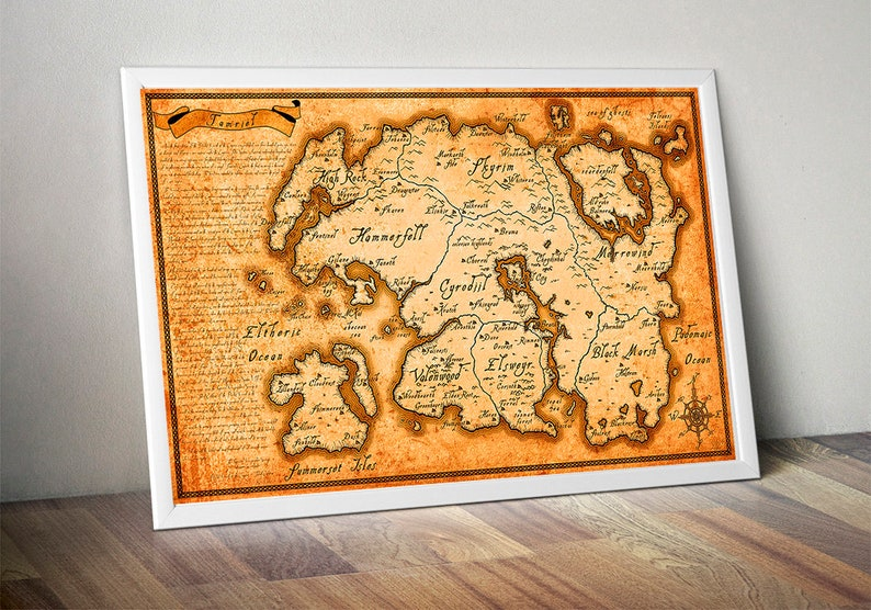 The Elder Scrolls Map Tamriel Map Skyrim Map Morrowind map | Etsy