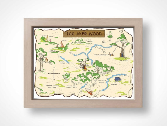 Map Winnie The Pooh 100 Aker Wood Christopher Robin Hundred Acre Wood Nursery Art Digital Print Winnie The Pooh E H Shepard 20x30inc