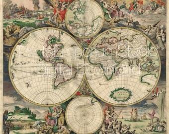 Antique map 17th Old world map Vintage 1689s Printable digital download Art map illustration Retro decor Print-it-Yourself instant Download