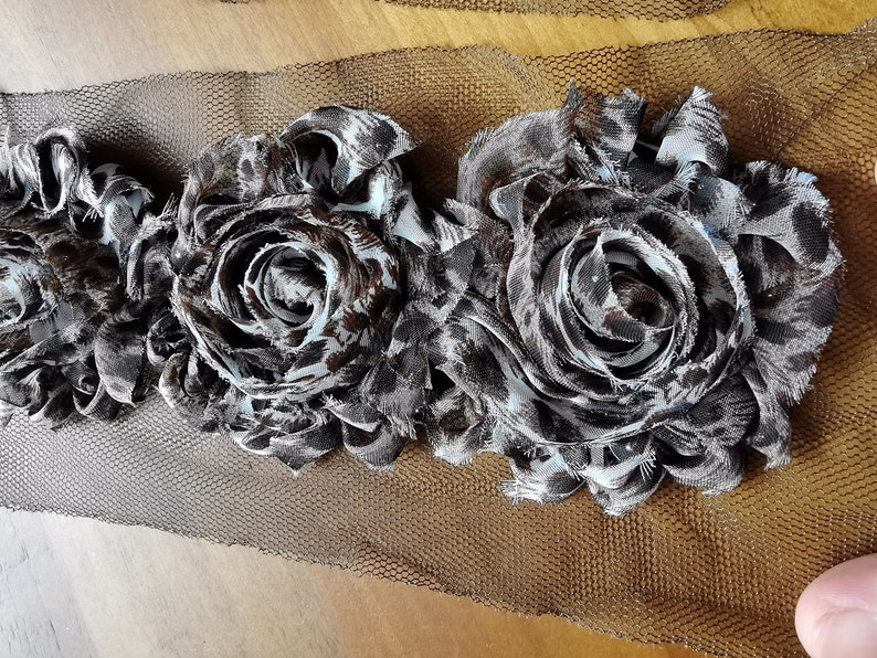 Leopard Spots for Baby Hair Accessaries Making Decor Hairbow Making Supplies Shabby Chic Rose Flower Trim Chiffon Flower Wholesale