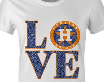 HOUSTON BASEBALL Ladies Shirt|Glitter|bling|womens|Blue|Orange|Astros|black|gold|diva|gift|clothing|ladies shirt