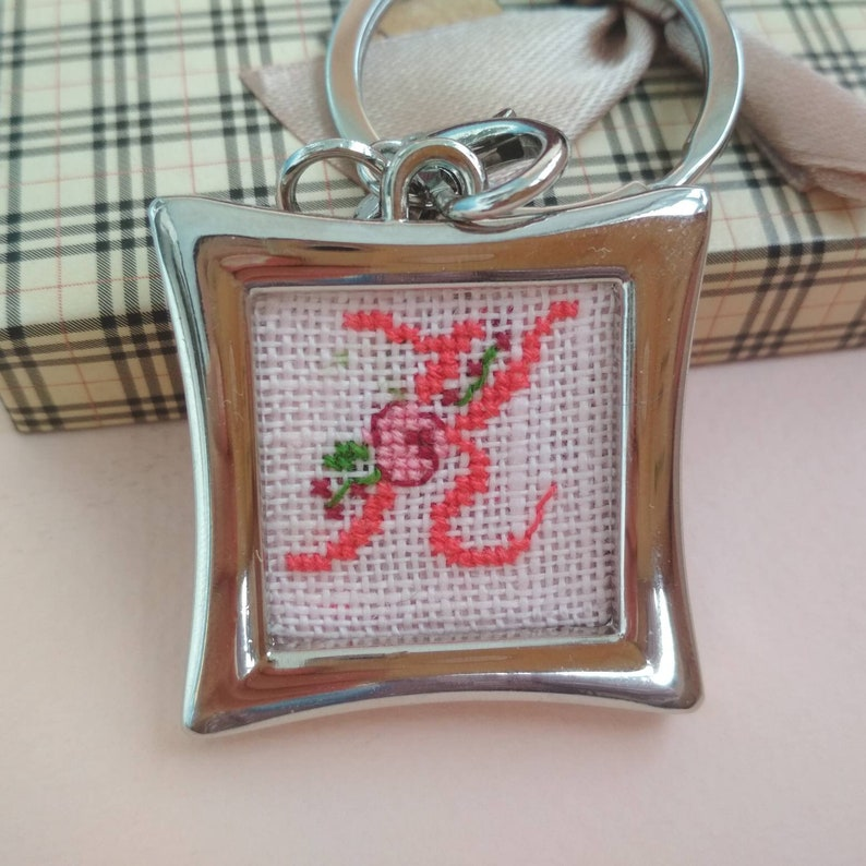 Personalized stocking stuffer for her Metal keychain with hand embroidered monogram Custom cross stitched accessory for lady Letter K