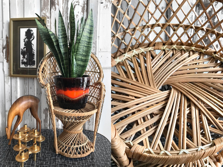 Anni 39 70 vintage boho pavone sedia vimini sedia per fiori for Sedia design anni 70