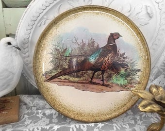 Beautiful vintage cake plate with pheasant/vintage cake plate from Italy