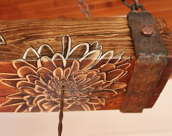 "SOLD  30.5"" Wood Beam Dahlia Hanging Light Fixture"