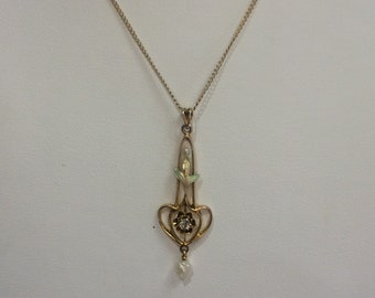 Antique 10kt Yellow Gold Lavalier Necklace