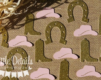 Cowgirl Table Confetti, Western Party,  Bridal Shower