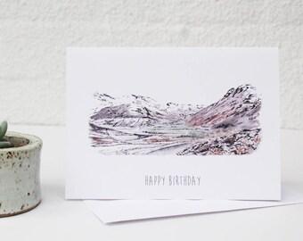 Lake District, Langdale, Lake District Card, Mountains Card, Fells Illustration, Lake District Painting, Lake District Illustration
