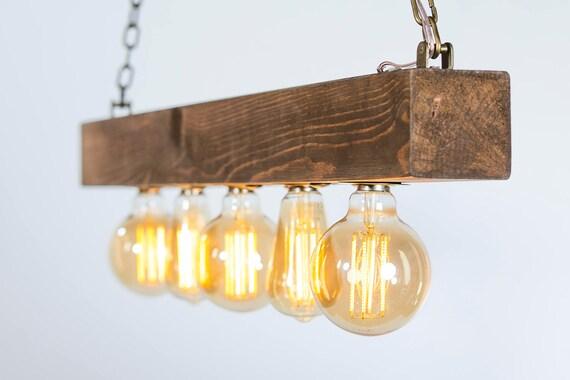 Plafoniera luce legno bonificata legno luce rustico casa etsy