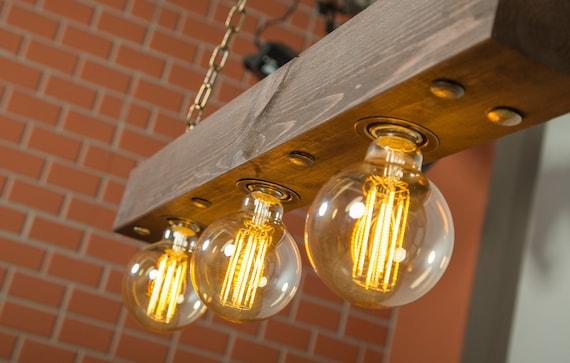 Plafoniera luce legno bonificata legno luce illuminazione etsy