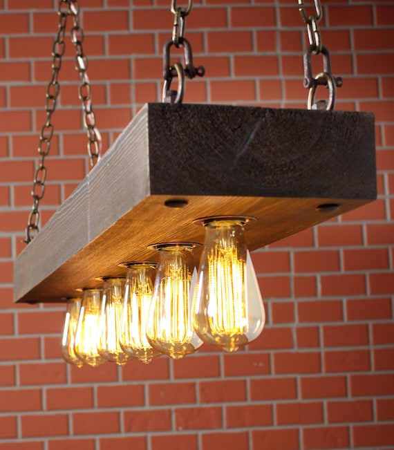 Rustic Lighting Reclaimed Wood Light Dining Room Light Lighting Fixture With Edison Bulbs And Rusted Chain Farmhouse Chandelier Lighting