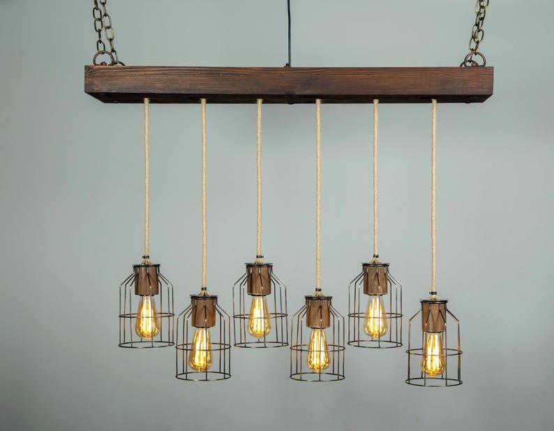 Käfig-Beleuchtung Holz Lİght Bauernhaus Licht Anhänger | Etsy
