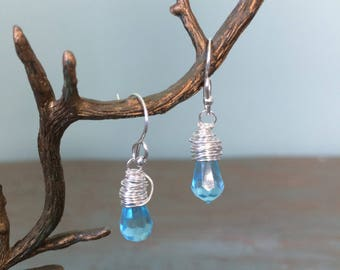 Aqua crystal earrings