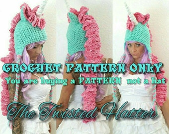 505b5e50d2e Twisted Unicorn PDF crochet PATTERN (not a finished hat) pls read  description before buying