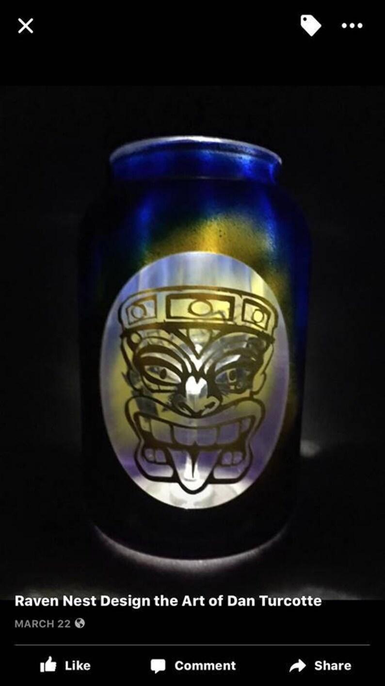 1 Gal Custom Painted Size Tiki Face Solar Light