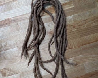 Light brown wool dreadlocks