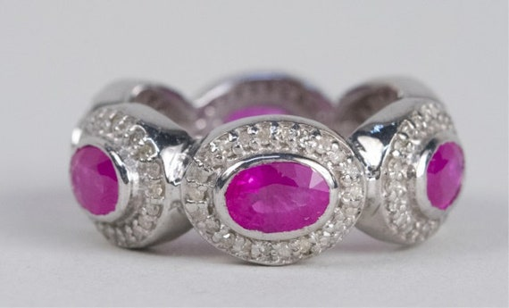 Sterling Silver Ruby and Diamond Ring - image 1