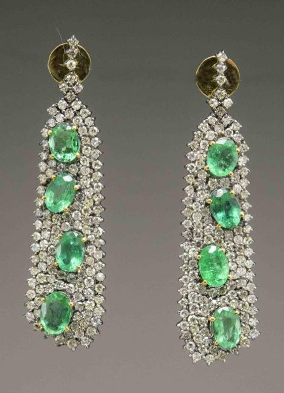 Victorian Style Emerald and Diamond Earrings