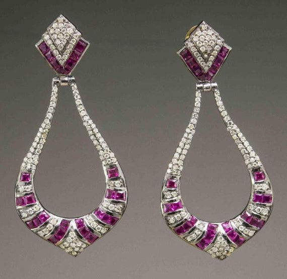 Victorian Style Ruby and Diamond Earrings