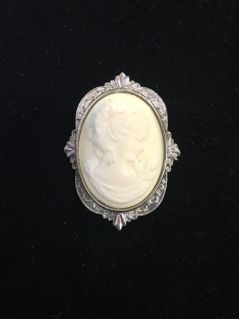 Young Woman Bust Cameo Pin
