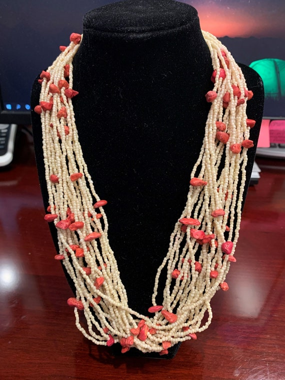 Off White & Coral Beaded Necklace - image 1