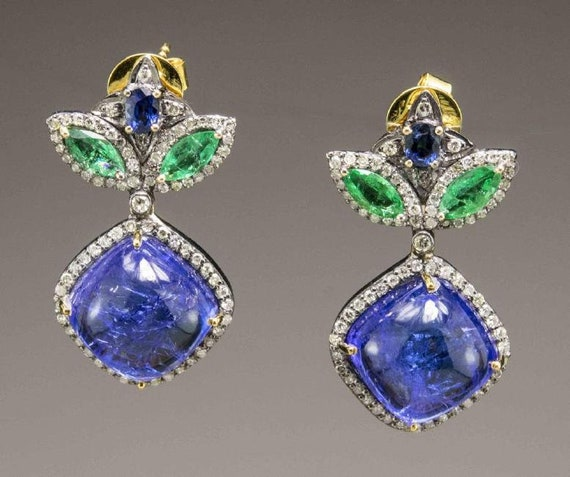 Victorian Style Tanzanite Earrings