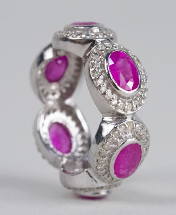 Sterling Silver Ruby and Diamond Ring - image 2