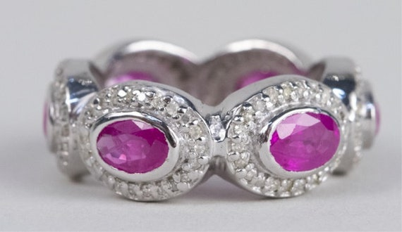 Sterling Silver Ruby and Diamond Ring - image 3