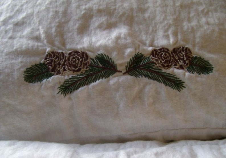 Linen Pillowcase With Pinecone Embroidery Grandma gift King Euro Sham Queen Christmas Pillowcase with Open Closure Standard