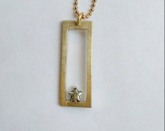 Necklace pendant star rectangle cute handmade brass, minimalist geometric jewelry