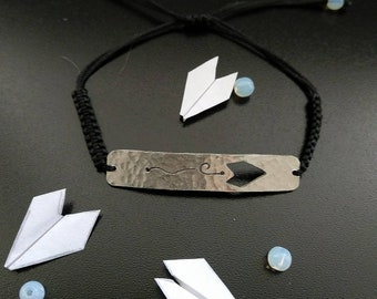 Silver bracelet paper planes, macrame with moonstone beads, playful, lovely gift