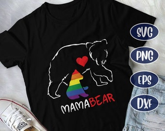 60a98e67 LGBT Mama Bear, Mothers Bear svg, Mama Bear and Baby Rainbow Bear, LGBT  svg, Lesbian Gay Bisexual Transgender Queer, LGBT Pride Parade, png