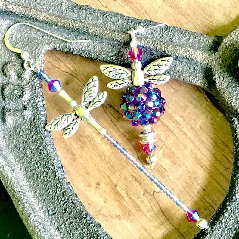 Purple Mismatch Beaded Bee and Beaded Dragonfly Mismatched earrings Bee /& Dragonfly earrings