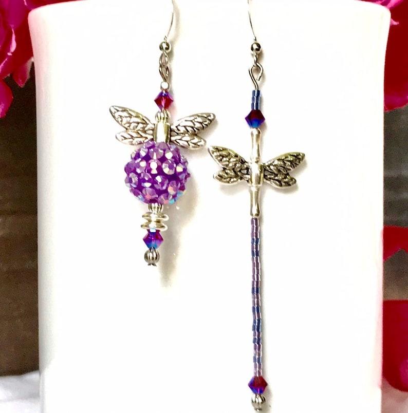 Purple Mismatch Beaded Bee and Beaded Dragonfly Bee /& Dragonfly earrings Mismatched earrings