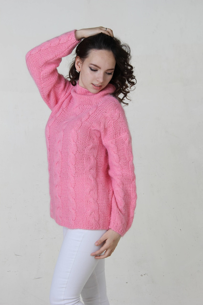 32d54f453 Mohair hand knit sweater cable knit sweater women fuzzy fluffy