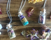 Crystal Botanical Charm Bottle Necklace * Terrarium * Dreams * Wish Bottle * Spell * Magic * Crystal Healing * Bohemian * Gypsy * Valentines