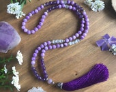 Purple gemstone mala necklace * Tassel Necklace * Valentines Day * Hippie * Bohemian * Spiritual Gift * Crystal Jewelry * Purple Necklace