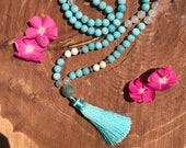 Turquoise Mala Beads // Howlite // Yoga // Meditation // Yoga Beads // Prayer Beads // Tassel // Buddhism // Beaded Necklace // Tassle