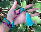 Turquoise And Purple Mala Beads // Yoga // Meditation // Yoga Beads // Prayer Beads // Tassel // Buddhism // Beaded Necklace // Valentines