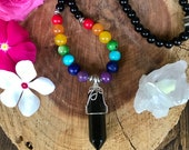 Chakra Necklace with obsidian pendant //Healing // Rainbow // Balancing // Gypsy // Hippie // Boho // Bohemian // Gemstones
