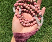 Pink Gemstone Mala Beads // Yoga // Tassel Necklace // Prayer Beads // Gemstone // Boho // Bohemian // Gypsy // Valentines Gift // Hippie