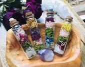 Crystal + Botanical Magical Altar Bottles * Valentines Day * Crystal Healing * Gemstone * Terrarium * Wish Bottle * Spell * Spiritual Gift